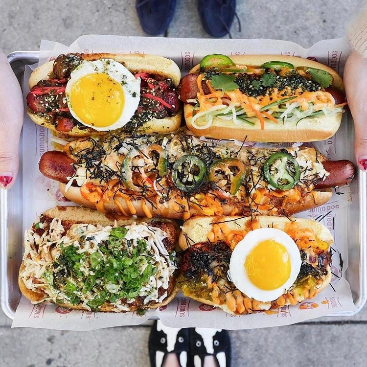 Hot dogs from Sumo Dog. PC: @hangrydiary