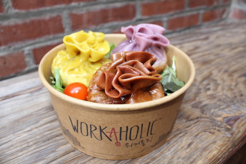 Workaholic's handcrafted rainbow colored all natural artisan Korean dumplings. (Photo by Kristie Hang/LAist)