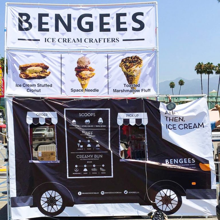 Bengees' adorable canopy turned ice cream truck at 626 Night Market